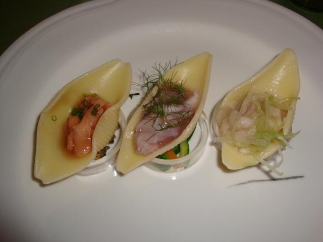 conchiglioni Felicetti in carpione e sashimi di lago
