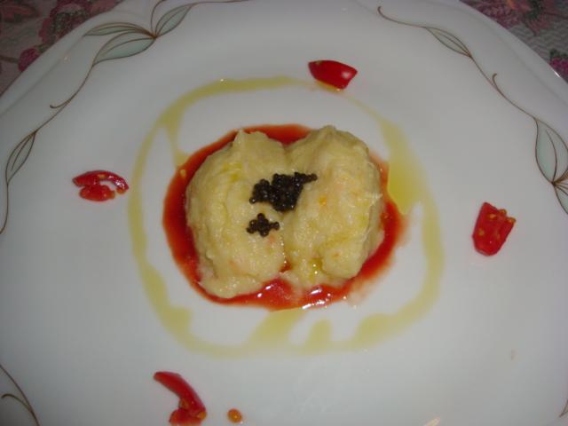 baccalà mantecato con patate e caviale fresco