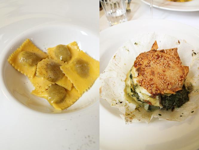 ravioli ripieni d'anatra al burro e salvia e lasagnetta di radicchio, coste e formaggio grana