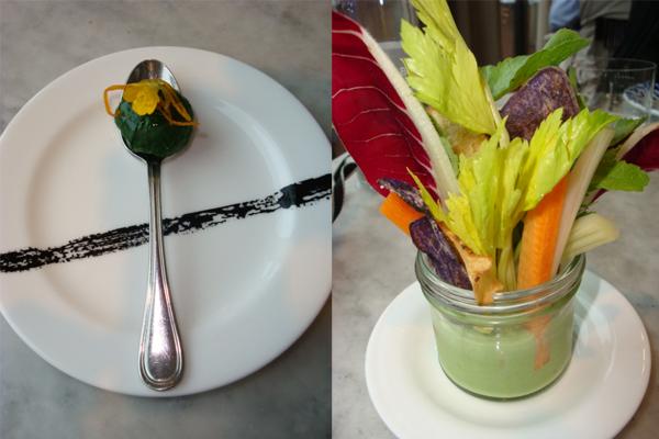 raviolo di bietola al vapore-pinzimonio di verdure
