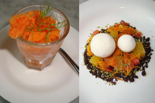 sorbetto alla carota-insalatina di agrumi