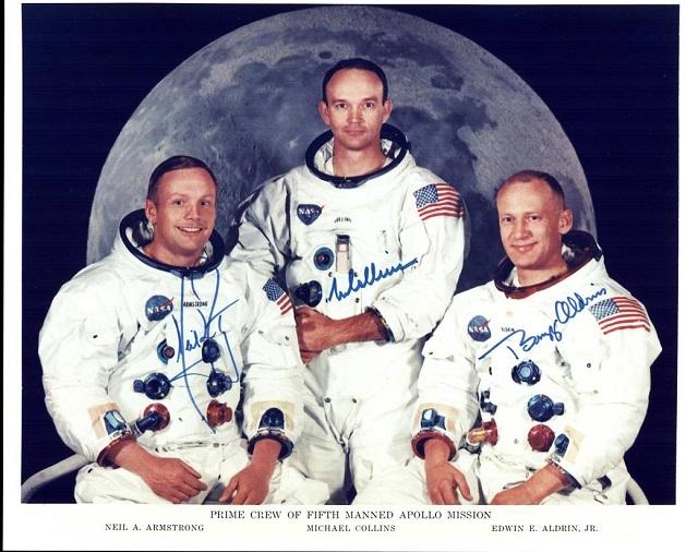 equipaggio dell'Apollo 11, da sinistra Armstrong, Collins e Aldin -Photo Credits @NASA