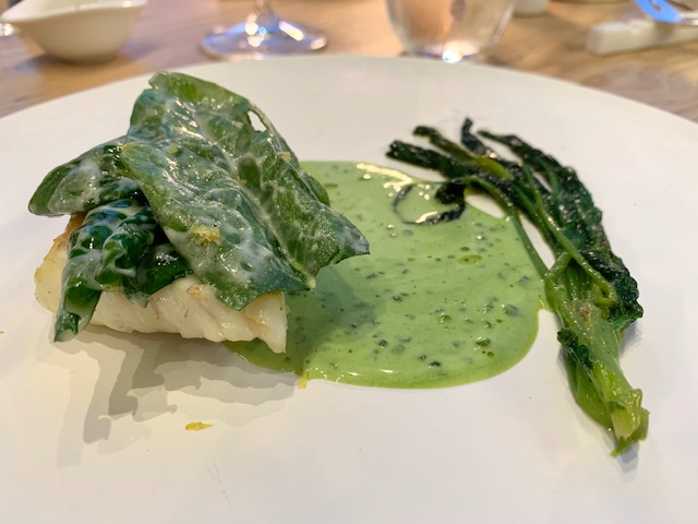 rombo, spinaci all'acqua di mare